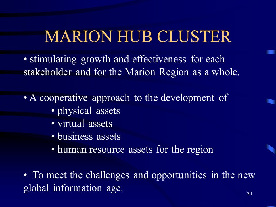 31 MARION HUB CLUSTER stimulating growth and effectiveness for each stakeholder and for the Marion Region as a whole.