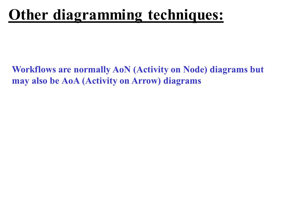 Other diagramming techniques: Workflows are normally AoN (Activity on Node) diagrams but may also be AoA (Activity on Arrow) diagrams