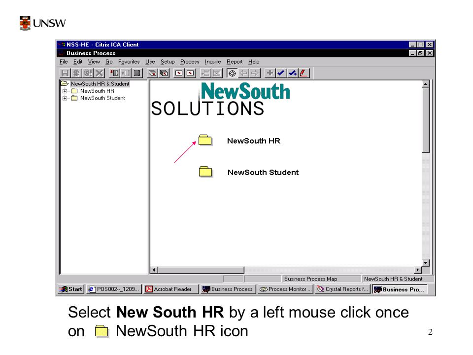 2 Select New South HR by a left mouse click once on NewSouth HR icon