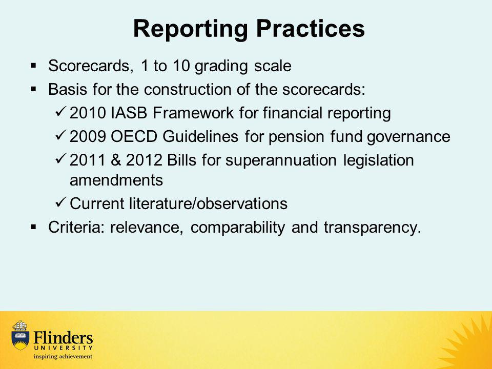Reporting Practices  Scorecards, 1 to 10 grading scale  Basis for the construction of the scorecards: 2010 IASB Framework for financial reporting 2009 OECD Guidelines for pension fund governance 2011 & 2012 Bills for superannuation legislation amendments Current literature/observations  Criteria: relevance, comparability and transparency.