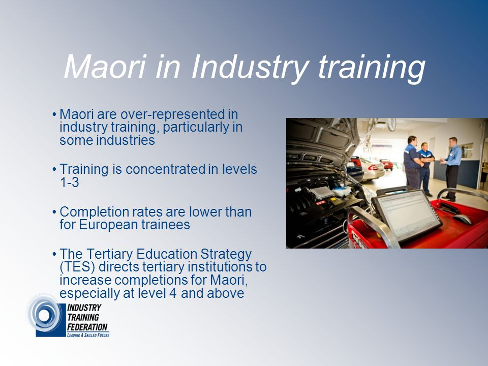 Maori in Industry training Maori are over-represented in industry training, particularly in some industries Training is concentrated in levels 1-3 Completion rates are lower than for European trainees The Tertiary Education Strategy (TES) directs tertiary institutions to increase completions for Maori, especially at level 4 and above