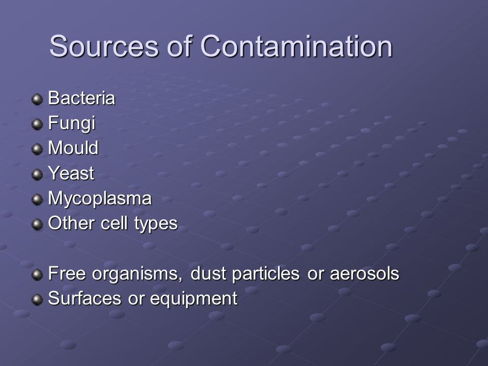 Sources of Contamination BacteriaFungiMouldYeastMycoplasma Other cell types Free organisms, dust particles or aerosols Surfaces or equipment