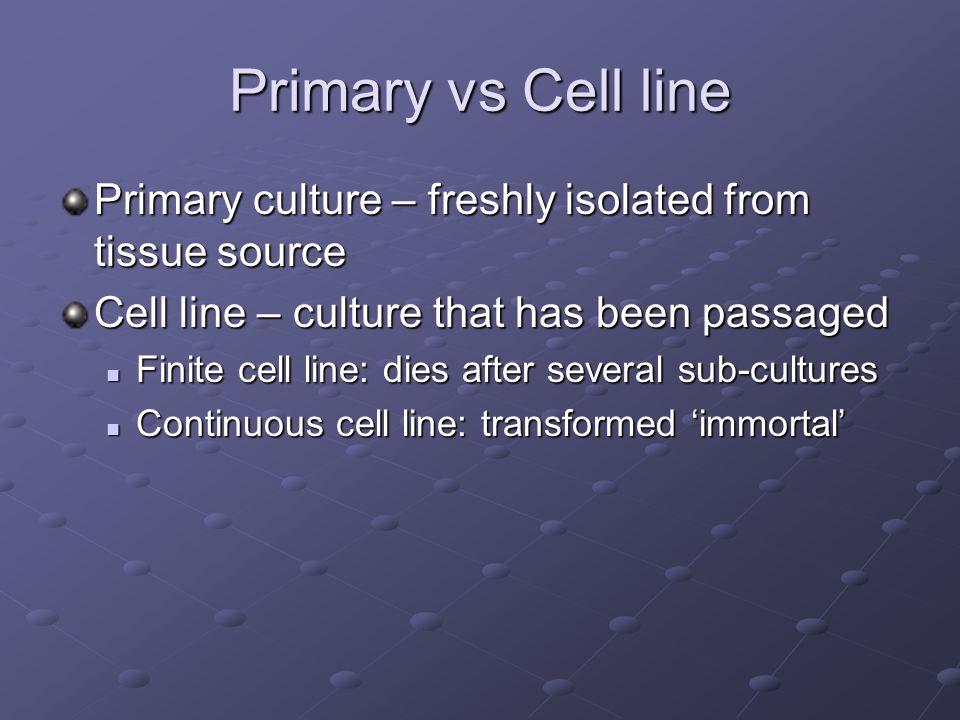 Primary vs Cell line Primary culture – freshly isolated from tissue source Cell line – culture that has been passaged Finite cell line: dies after several sub-cultures Finite cell line: dies after several sub-cultures Continuous cell line: transformed 'immortal' Continuous cell line: transformed 'immortal'