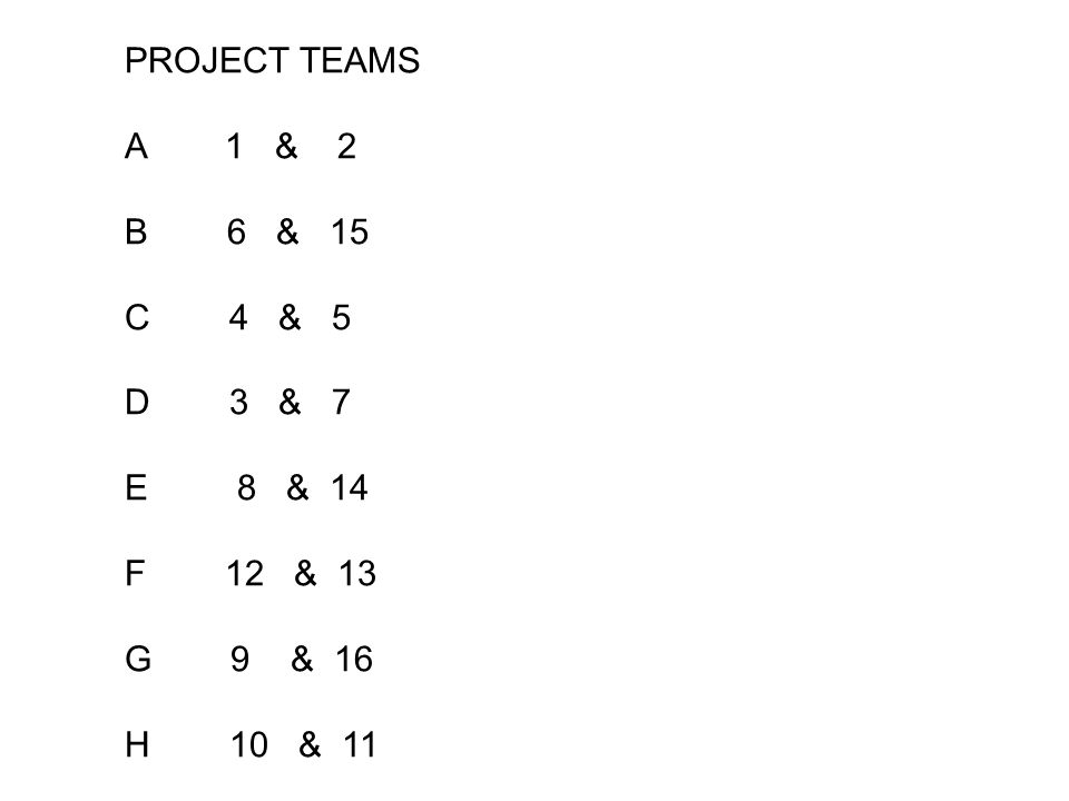 PROJECT TEAMS A 1 & 2 B 6 & 15 C 4 & 5 D 3 & 7 E 8 & 14 F 12 & 13 G 9 & 16 H 10 & 11