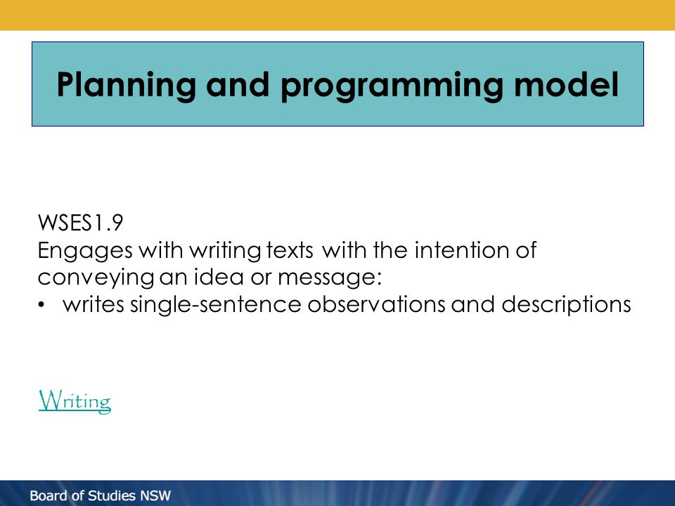 Planning and programming model WSES1.9 Engages with writing texts with the intention of conveying an idea or message: writes single-sentence observations and descriptions Writing