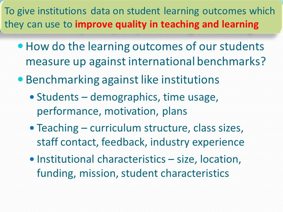 How do the learning outcomes of our students measure up against international benchmarks.