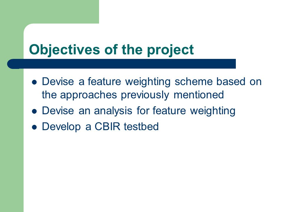 Objectives of the project Devise a feature weighting scheme based on the approaches previously mentioned Devise an analysis for feature weighting Develop a CBIR testbed