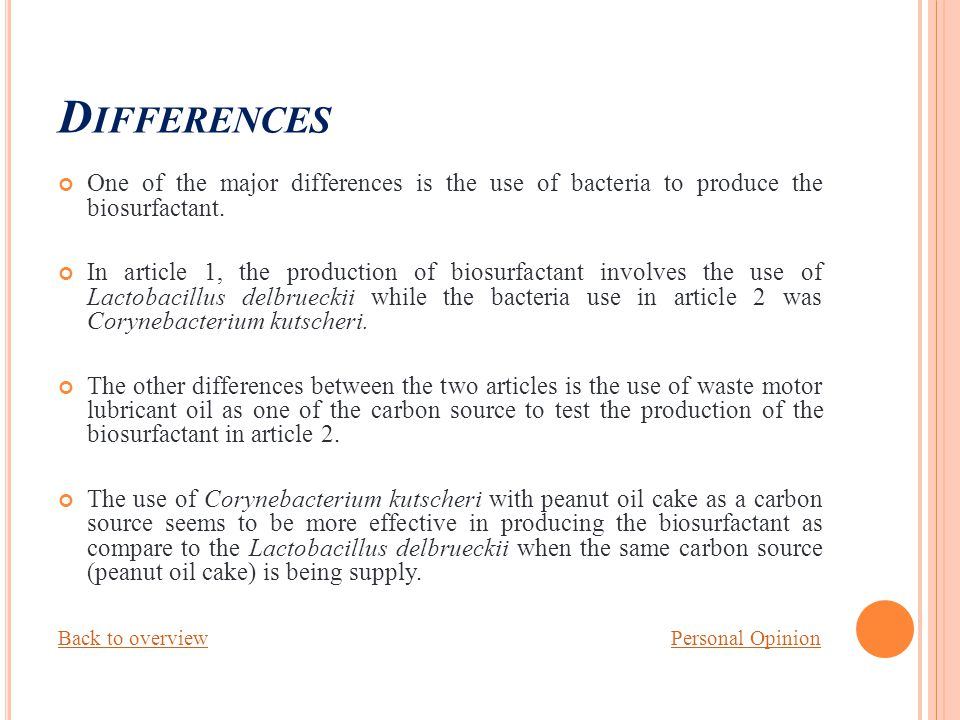 D IFFERENCES One of the major differences is the use of bacteria to produce the biosurfactant.