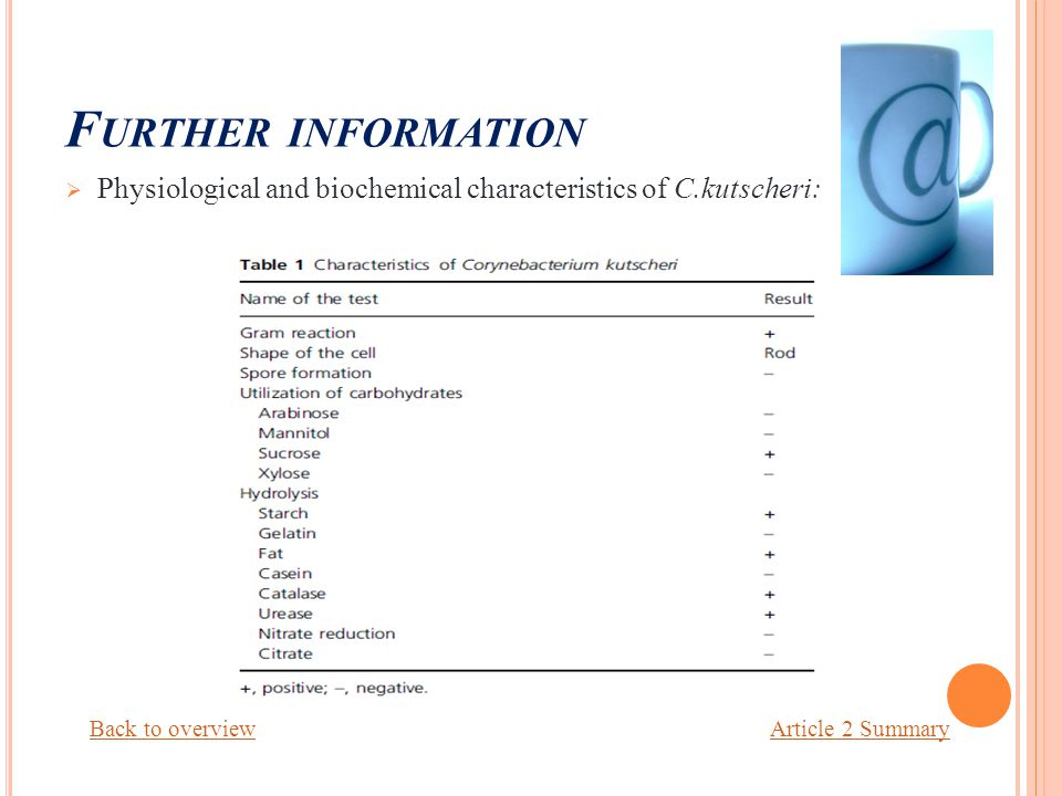 F URTHER INFORMATION  Physiological and biochemical characteristics of C.kutscheri: Back to overviewArticle 2 Summary