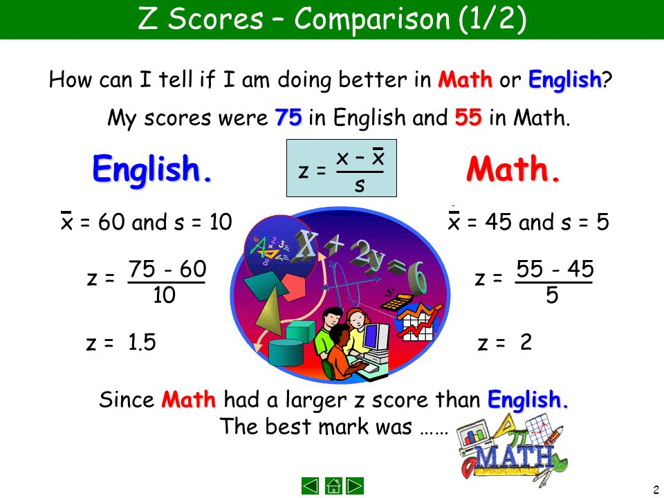 2 Z Scores – Comparison (1/2) MathEnglish How can I tell if I am doing better in Math or English.