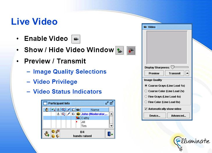 Live Video Enable Video Show / Hide Video Window Preview / Transmit –Image Quality Selections –Video Privilege –Video Status Indicators