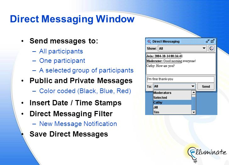 Direct Messaging Window Send messages to: –All participants –One participant –A selected group of participants Public and Private Messages –Color coded (Black, Blue, Red) Insert Date / Time Stamps Direct Messaging Filter –New Message Notification Save Direct Messages