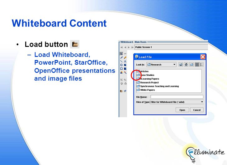 Whiteboard Content Load button –Load Whiteboard, PowerPoint, StarOffice, OpenOffice presentations and image files