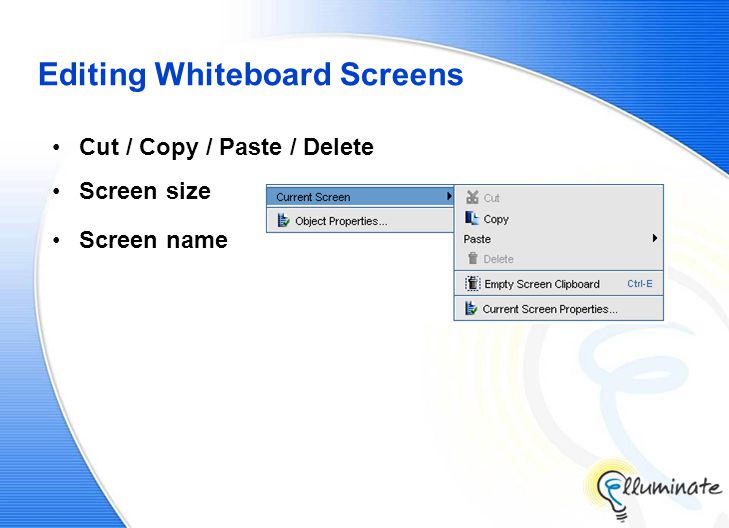 Editing Whiteboard Screens Cut / Copy / Paste / Delete Screen size Screen name