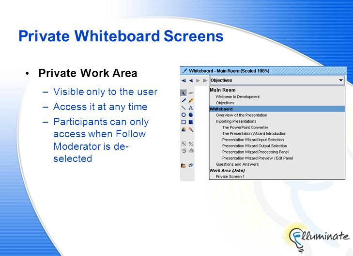 Private Whiteboard Screens Private Work Area –Visible only to the user –Access it at any time –Participants can only access when Follow Moderator is de- selected