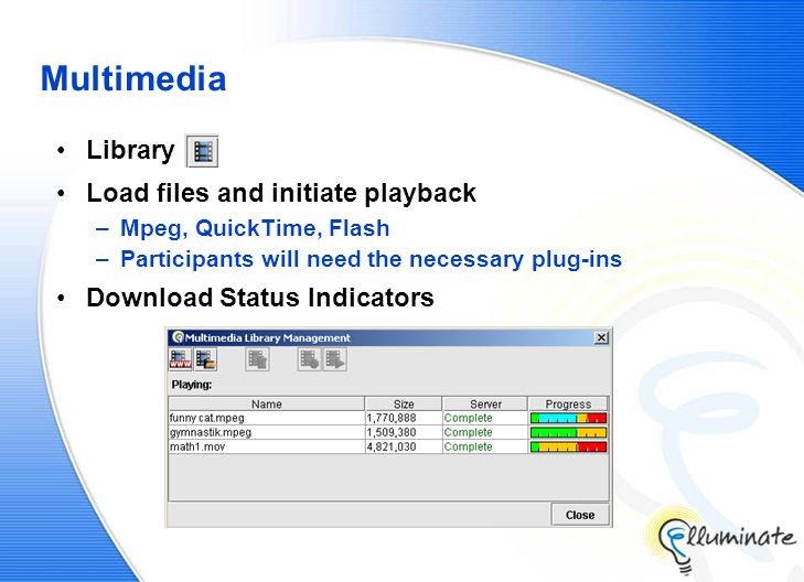 Multimedia Library Load files and initiate playback –Mpeg, QuickTime, Flash –Participants will need the necessary plug-ins Download Status Indicators