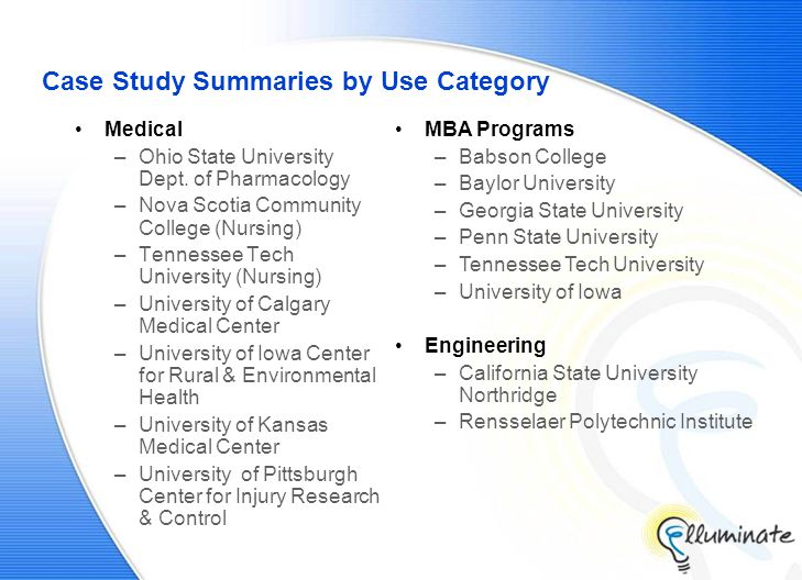 Case Study Summaries by Use Category Medical –Ohio State University Dept.
