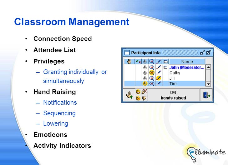 Classroom Management Connection Speed Attendee List Privileges –Granting individually or simultaneously Hand Raising –Notifications –Sequencing –Lowering Emoticons Activity Indicators