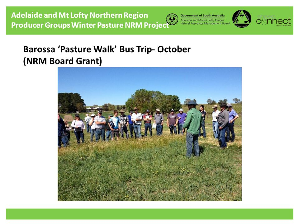 Adelaide and Mt Lofty Northern Region Producer Groups Winter Pasture NRM Project Barossa 'Pasture Walk' Bus Trip- October (NRM Board Grant)