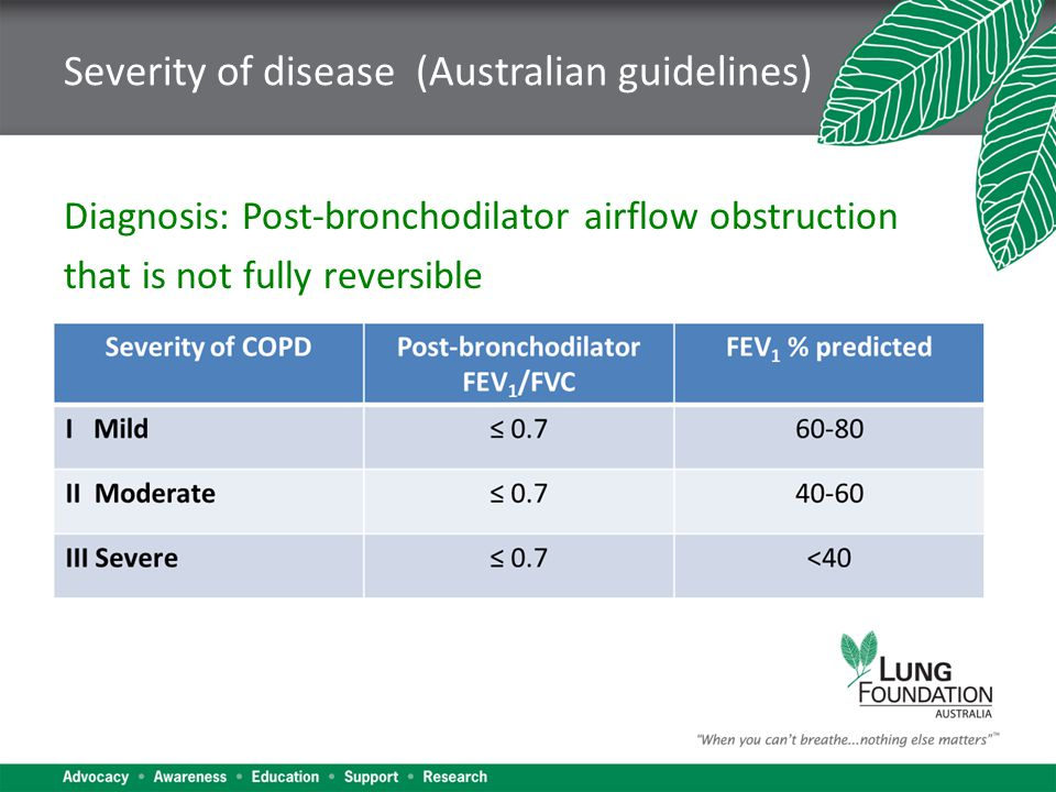 Severity of disease (Australian guidelines) Diagnosis: Post-bronchodilator airflow obstruction that is not fully reversible