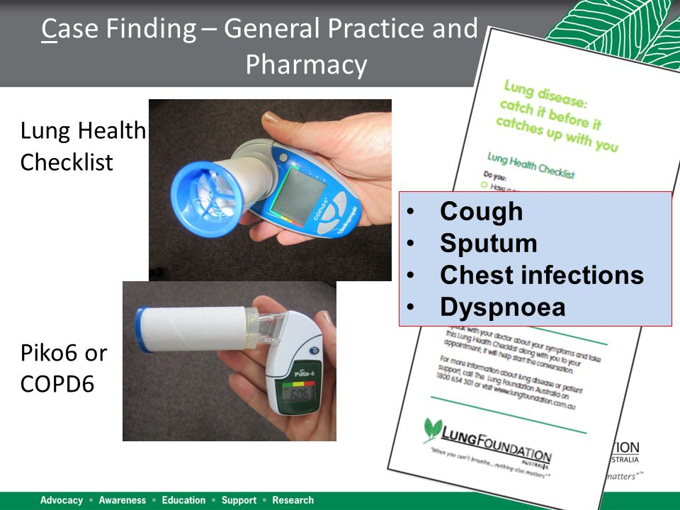 Case Finding – General Practice and Pharmacy Lung Health Checklist Piko6 or COPD6 Cough Sputum Chest infections Dyspnoea