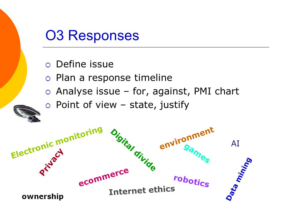 O3 Responses  Define issue  Plan a response timeline  Analyse issue – for, against, PMI chart  Point of view – state, justify Privacy Digital divide ecommerce environment robotics games Internet ethics AI Electronic monitoring ownership Data mining