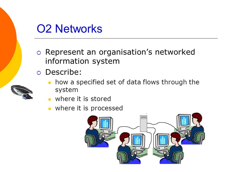 O2 Networks  Represent an organisation's networked information system  Describe: how a specified set of data flows through the system where it is stored where it is processed