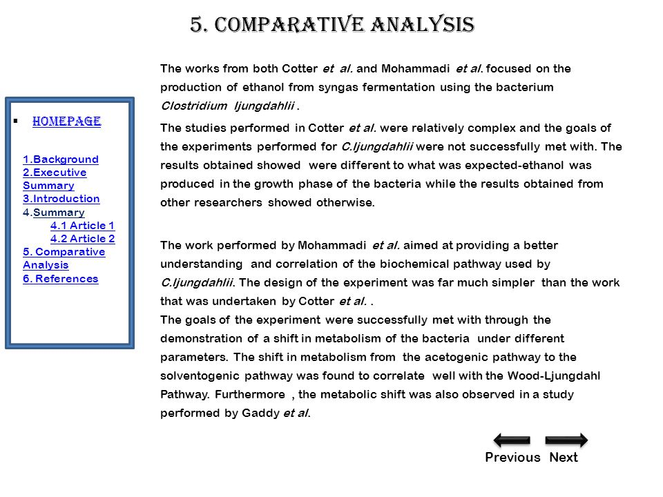 5. Comparative analysis The works from both Cotter et al.