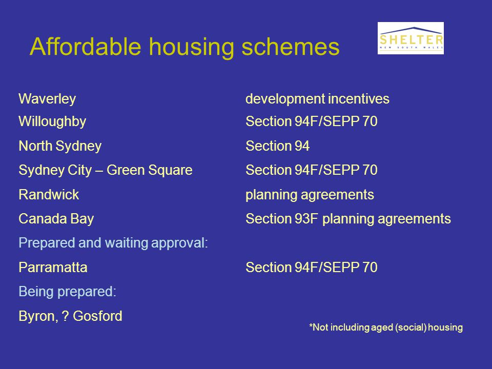 Affordable housing schemes Waverleydevelopment incentives WilloughbySection 94F/SEPP 70 North SydneySection 94 Sydney City – Green SquareSection 94F/SEPP 70 Randwickplanning agreements Canada BaySection 93F planning agreements Prepared and waiting approval: ParramattaSection 94F/SEPP 70 Being prepared: Byron, .