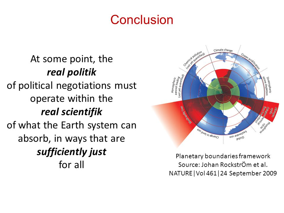 At some point, the real politik of political negotiations must operate within the real scientifik of what the Earth system can absorb, in ways that are sufficiently just for all Planetary boundaries framework Source: Johan RockstrÖm et al.