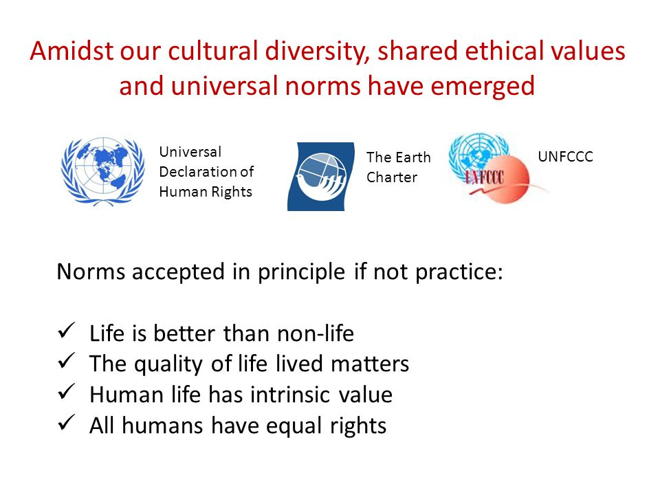 Amidst our cultural diversity, shared ethical values and universal norms have emerged Norms accepted in principle if not practice: Life is better than non-life The quality of life lived matters Human life has intrinsic value All humans have equal rights Universal Declaration of Human Rights The Earth Charter UNFCCC