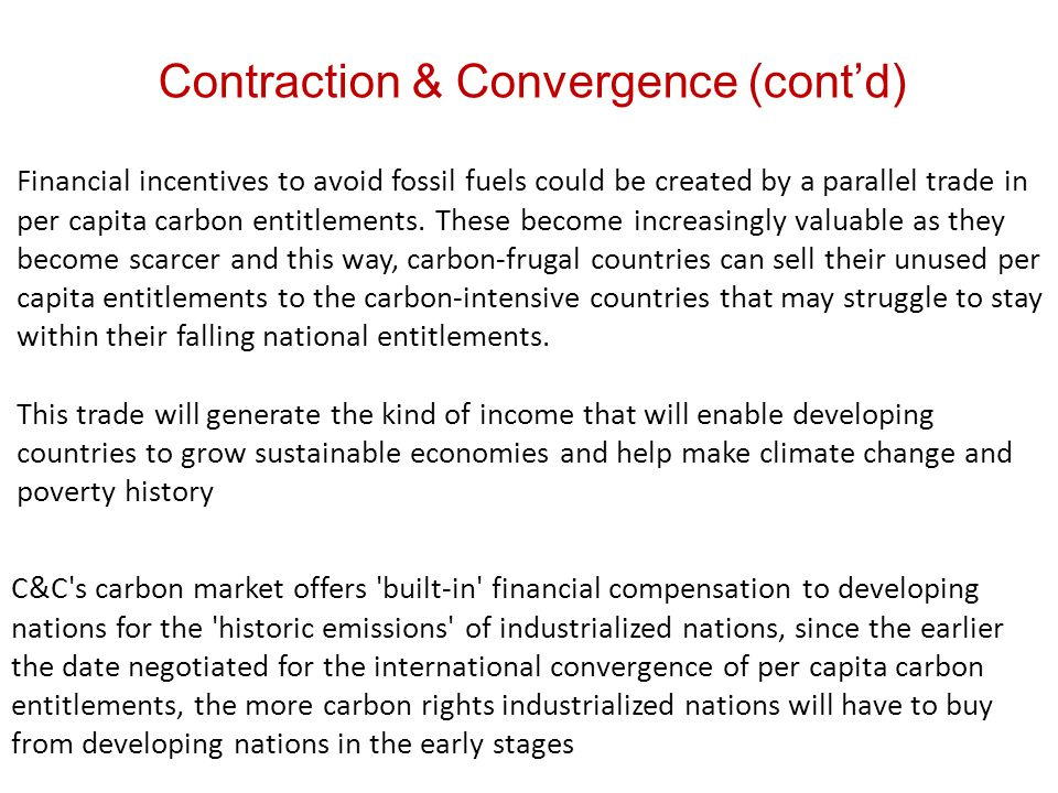 Financial incentives to avoid fossil fuels could be created by a parallel trade in per capita carbon entitlements.