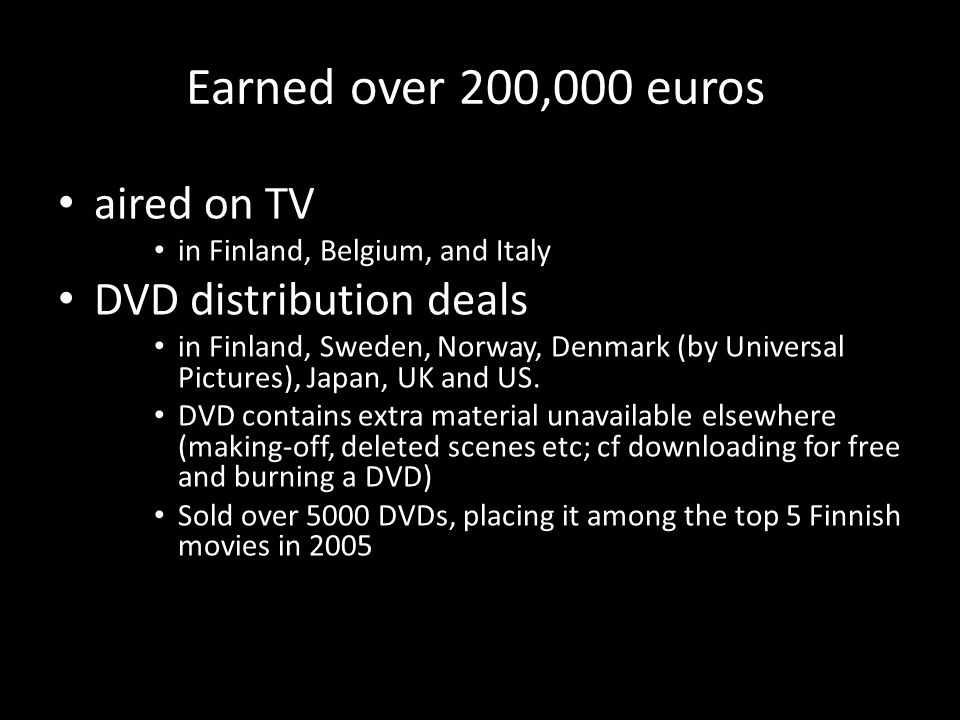 Earned over 200,000 euros aired on TV in Finland, Belgium, and Italy DVD distribution deals in Finland, Sweden, Norway, Denmark (by Universal Pictures), Japan, UK and US.