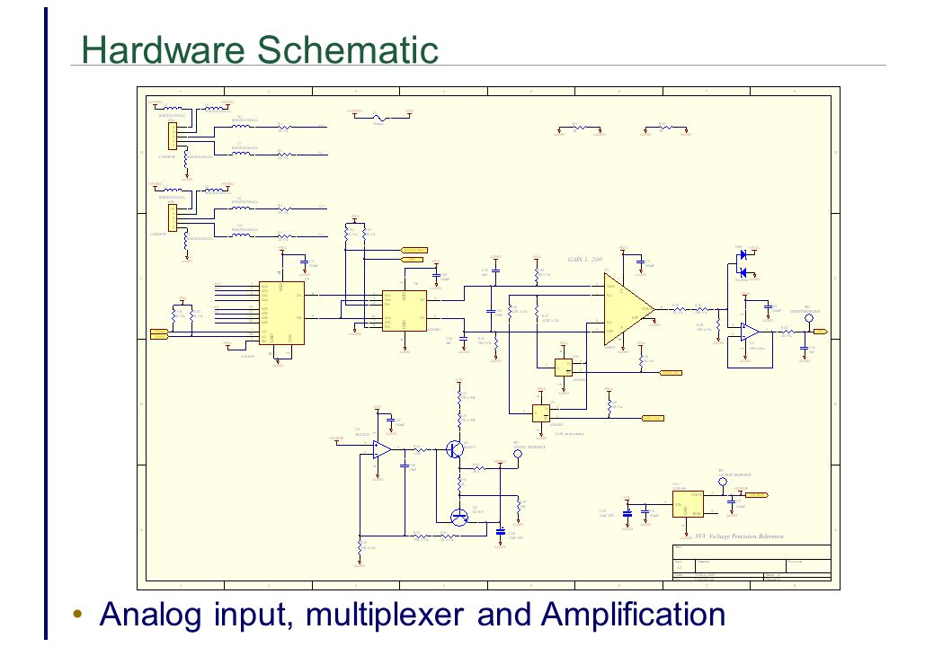 Hardware Schematic Analog input, multiplexer and Amplification