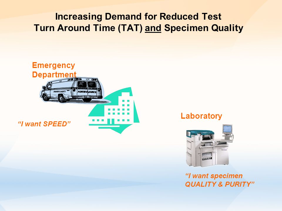 Increasing Demand for Reduced Test Turn Around Time (TAT) and Specimen Quality Emergency Department I want SPEED I want specimen QUALITY & PURITY Laboratory