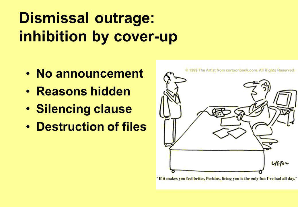 Dismissal outrage: inhibition by cover-up No announcement Reasons hidden Silencing clause Destruction of files