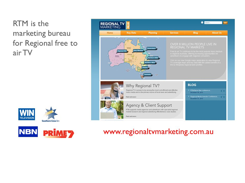 www.regionaltvmarketing.com.au RTM is the marketing bureau for Regional free to air TV