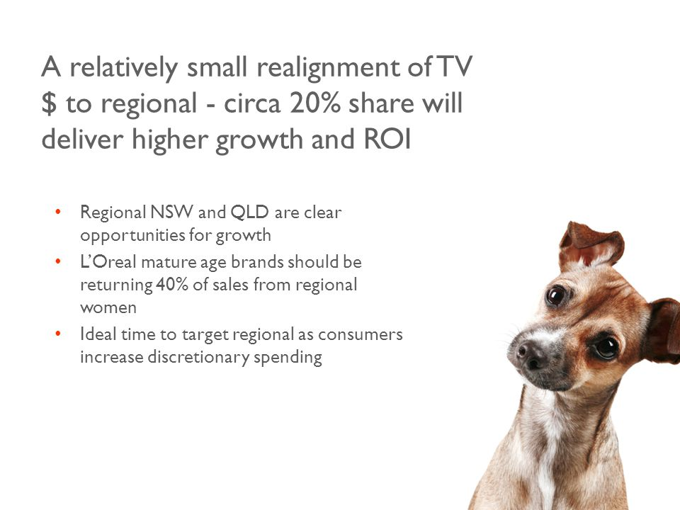 A relatively small realignment of TV $ to regional - circa 20% share will deliver higher growth and ROI Regional NSW and QLD are clear opportunities for growth L'Oreal mature age brands should be returning 40% of sales from regional women Ideal time to target regional as consumers increase discretionary spending
