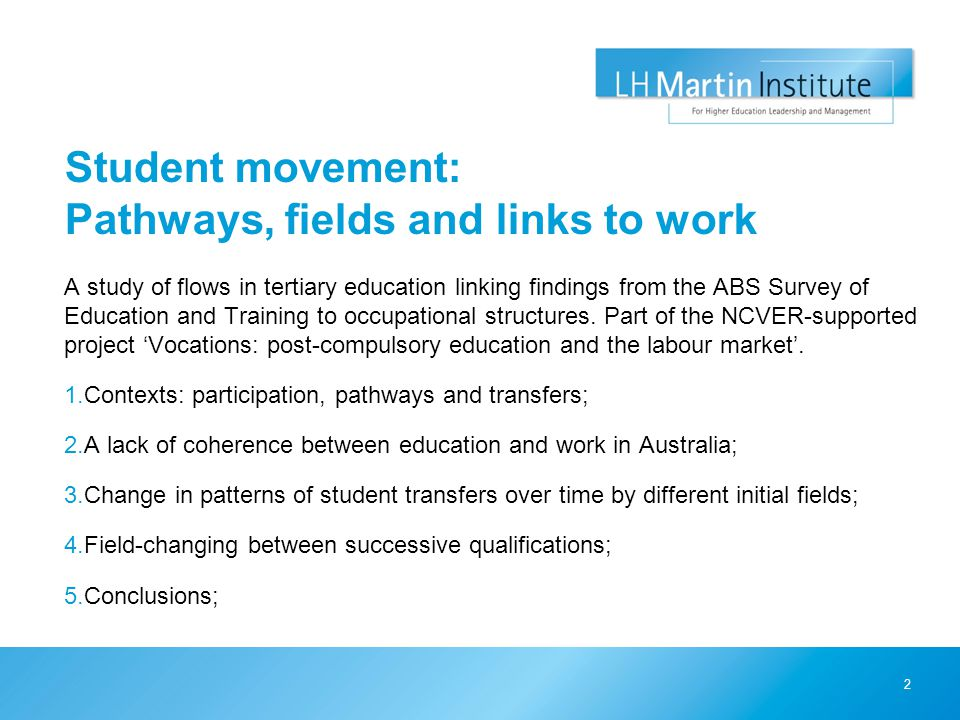 Student movement: Pathways, fields and links to work A study of flows in tertiary education linking findings from the ABS Survey of Education and Training to occupational structures.