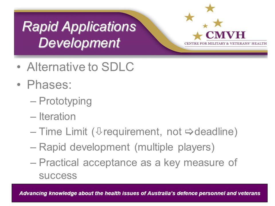Rapid Applications Development Alternative to SDLC Phases: –Prototyping –Iteration –Time Limit (  requirement, not  deadline) –Rapid development (multiple players) –Practical acceptance as a key measure of success