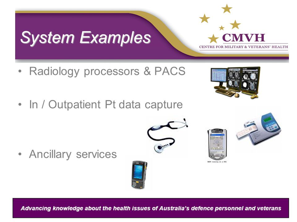 System Examples Radiology processors & PACS In / Outpatient Pt data capture Ancillary services