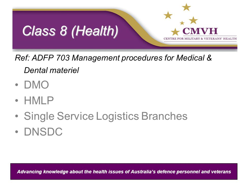 Class 8 (Health) Ref: ADFP 703 Management procedures for Medical & Dental materiel DMO HMLP Single Service Logistics Branches DNSDC