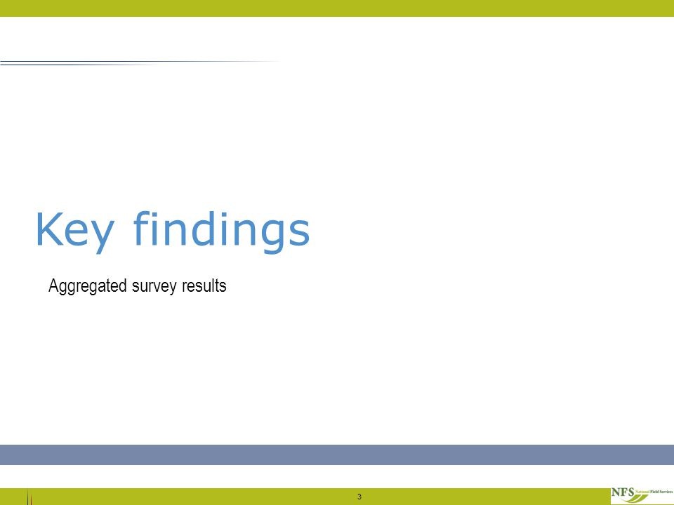 3 Key findings Aggregated survey results