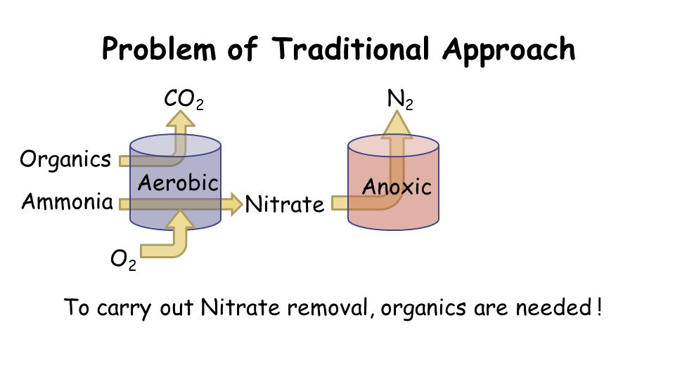 Problem of Traditional Approach O2O2 CO 2 Organics Nitrate To carry out Nitrate removal, organics are needed .