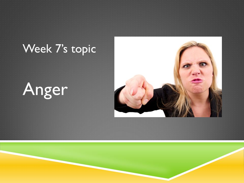 Week 7's topic Anger