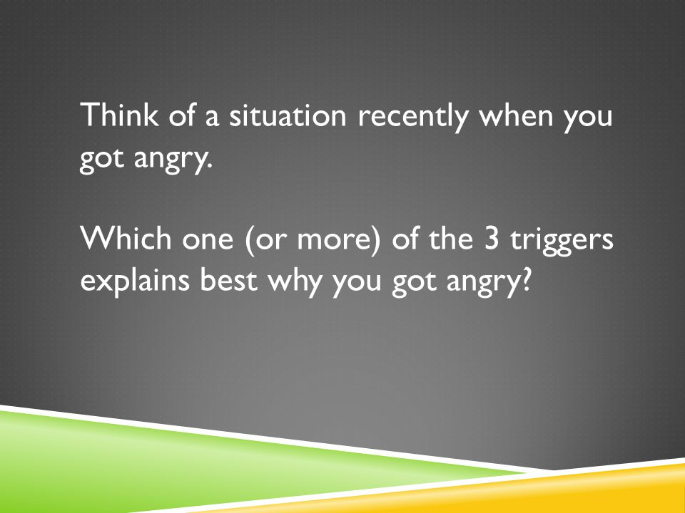 Think of a situation recently when you got angry.