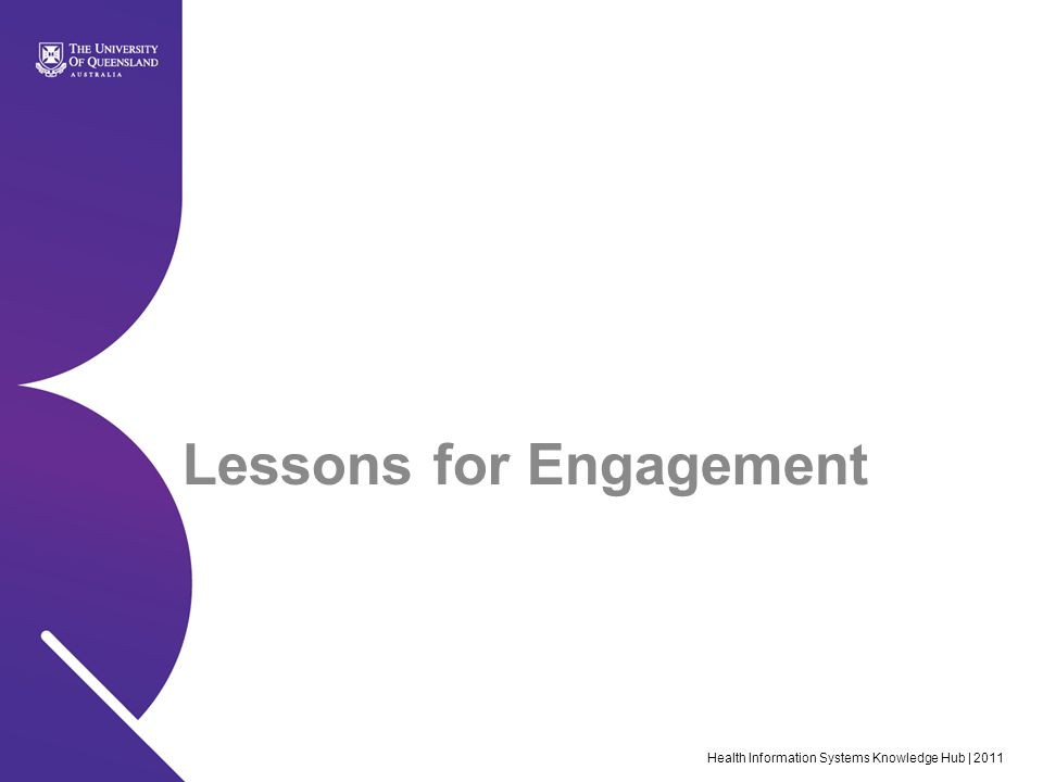 Lessons for Engagement