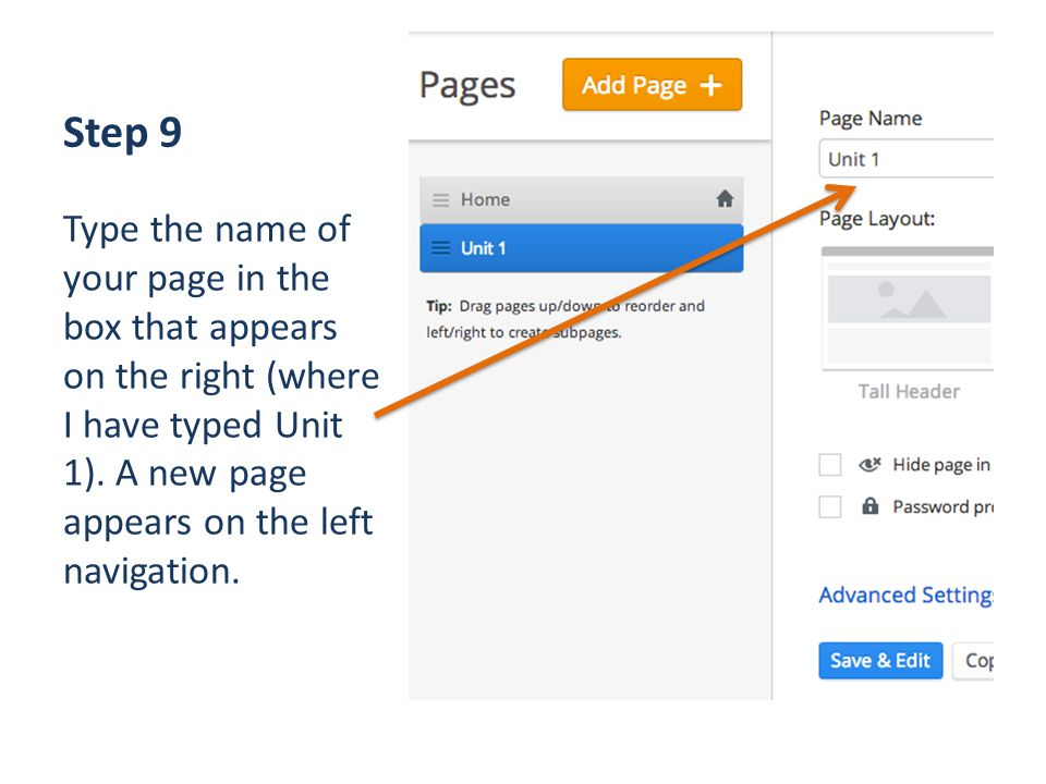 Step 9 Type the name of your page in the box that appears on the right (where I have typed Unit 1).