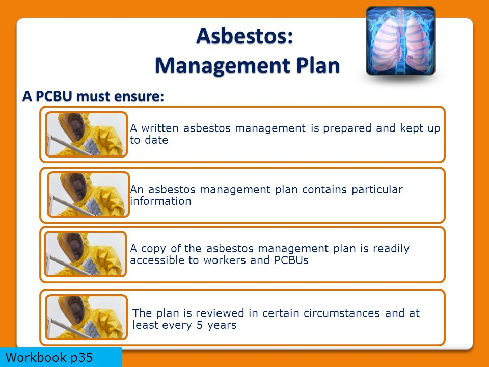 A written asbestos management is prepared and kept up to date An asbestos management plan contains particular information A copy of the asbestos management plan is readily accessible to workers and PCBUs The plan is reviewed in certain circumstances and at least every 5 years A PCBU must ensure: Asbestos: Management Plan Workbook p35