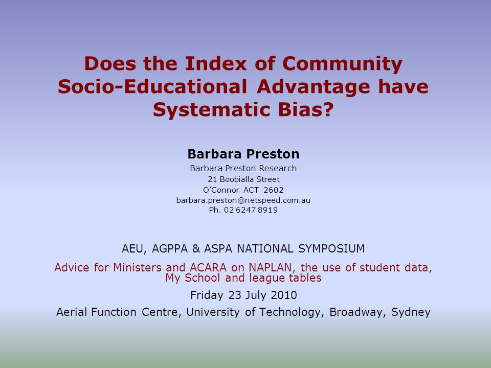 Does the Index of Community Socio-Educational Advantage have Systematic Bias.